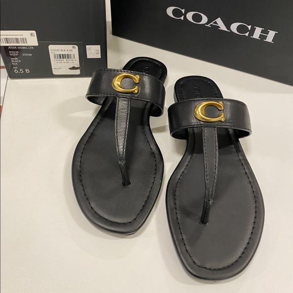 Coach Shoes - Coach sandals size 6.5 black with gold hard wear
